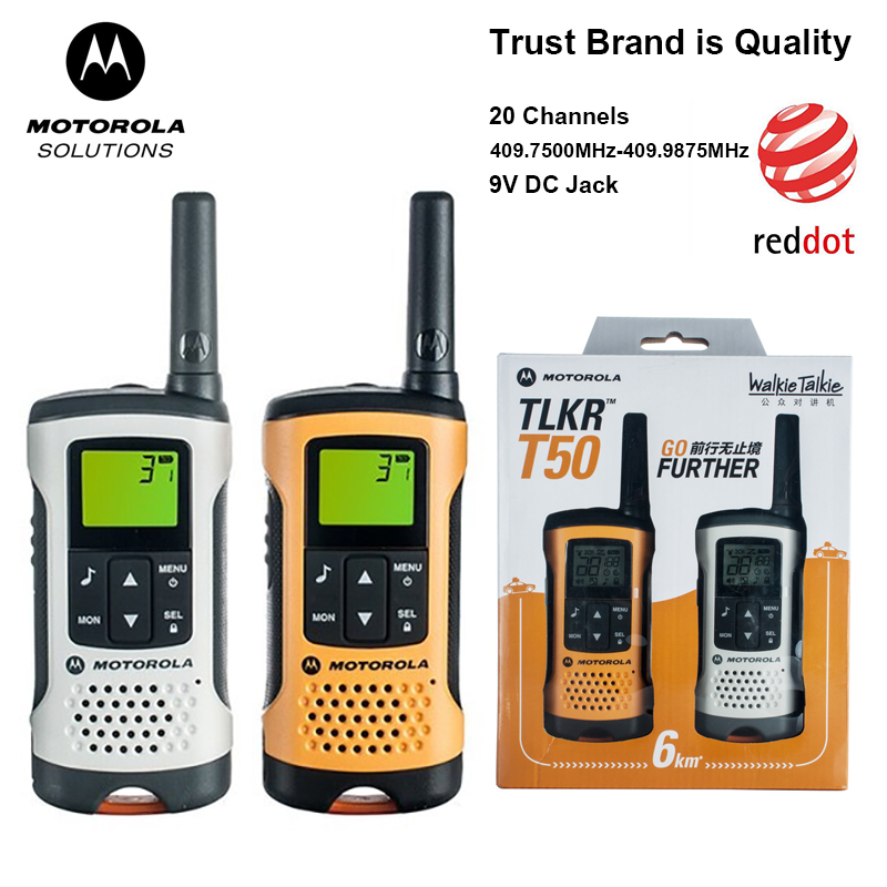 Motorola TLKR T50 Walkie Talkie With 20 Channels 6KM Distance Outdoor Walkie Talkie Support Ni-MH Battery & AAA Battery