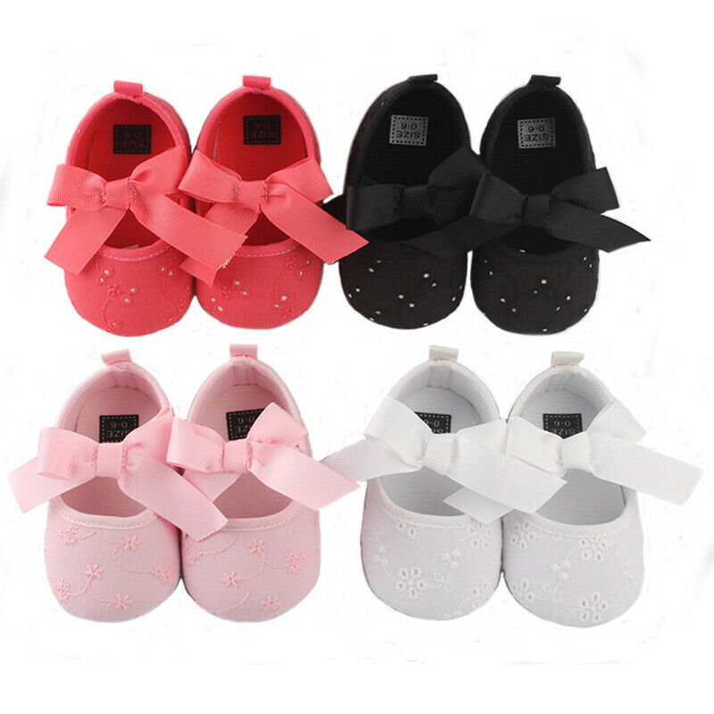 0-18M Infant Baby Girl Shoes Bowknot Anti-Slip Soft Sole Hook First Walkers Toddler Infant Baby Girl Kids Shoes