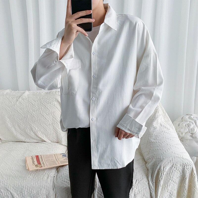 Autumn Black White Shirt Men's Fashion Dress Shirt Men Business Casual Shirts Mens Wild Loose Long-sleeved Shirt Male M-2XL