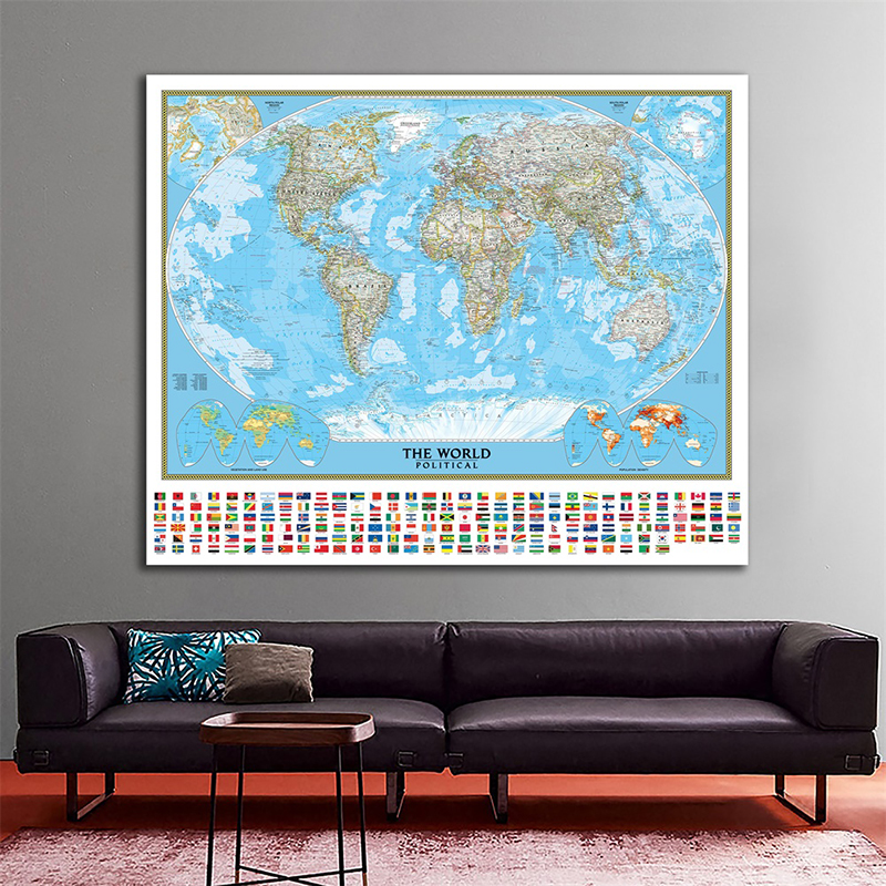 150x225cm The World Political Map With Vegetation Cover And Population Density Projection Retro Map For Geographic Research