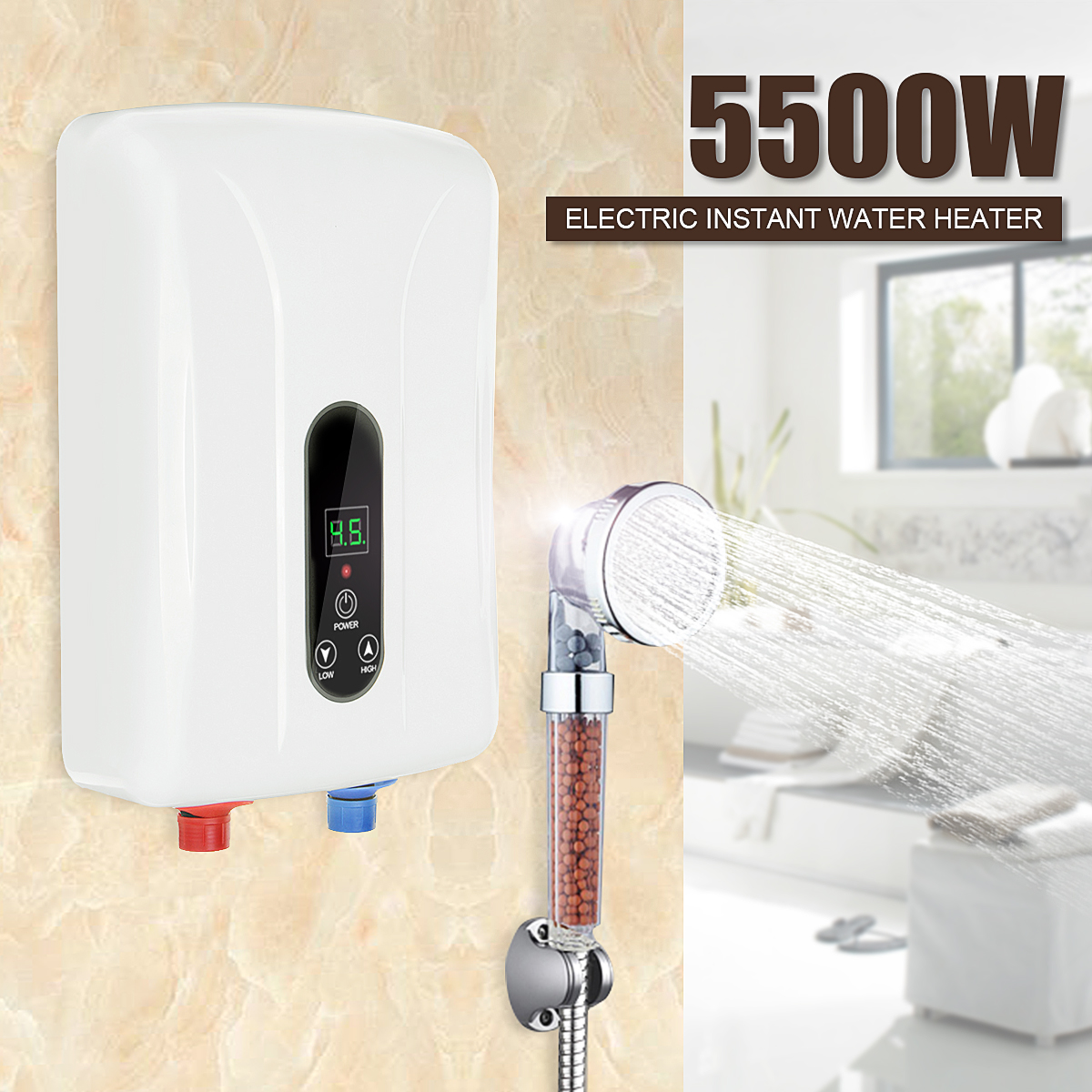5500W Instant Heating Electric Water Heater LED Display Hot Water Heater Constant Temperature Leakage Protection Shower Home