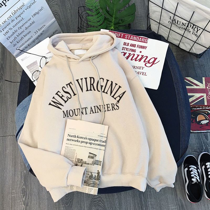 Women Winter Hoody Sweatshirt Letter 'west Virginia' Lady Pullover Harajuku Loose Student Wild Long Sleeve Female Tops 2019