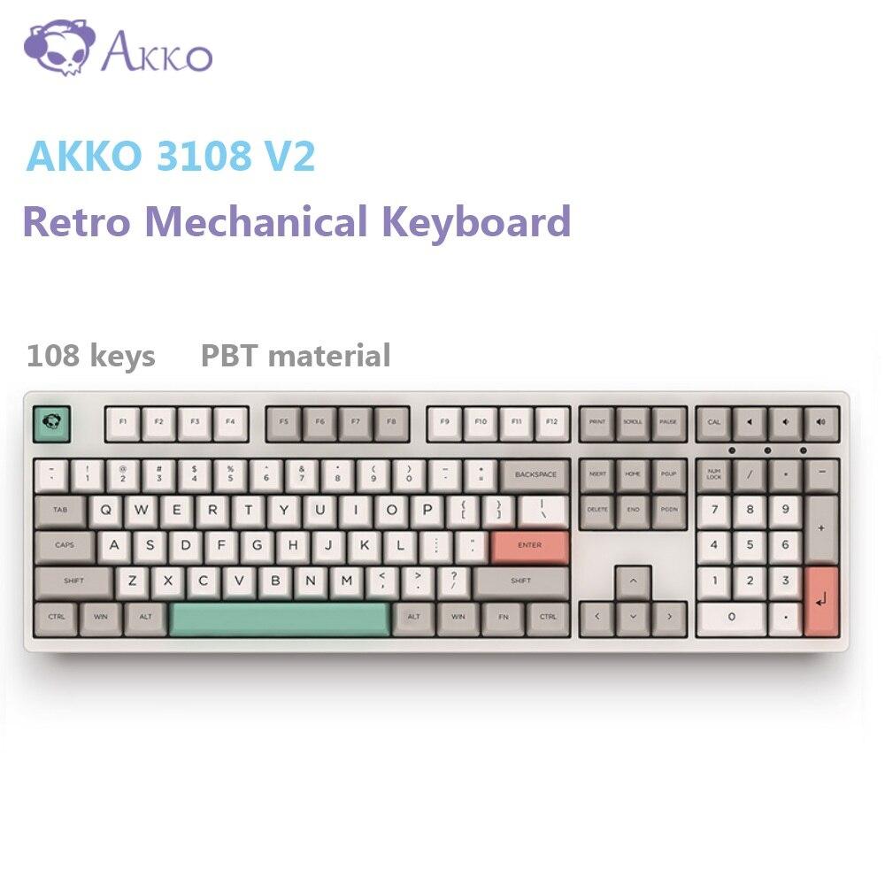 AKKO 3108 V2-9009 rétro clavier mécanique 108 touches USB filaire type-c ordinateur Gamer Anti-image fantôme Cherry MX