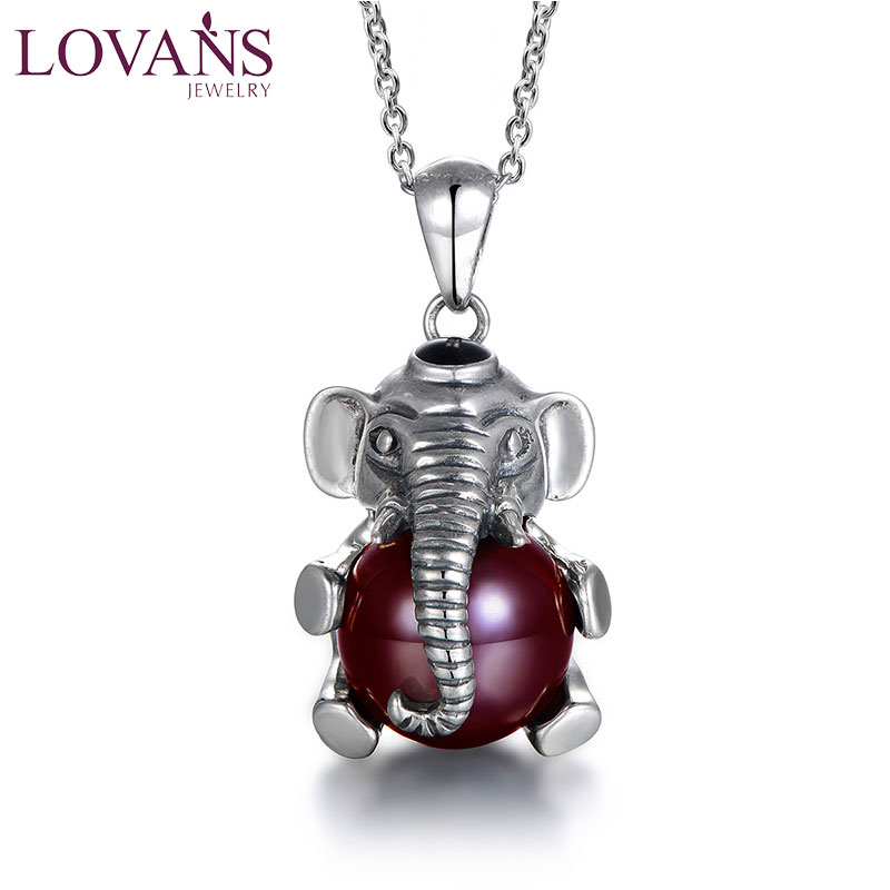 LOVANS Sterling Silver Big 3D Lucky Elephant Pendant Necklace Women Jewelry Red Stone Chain Necklace