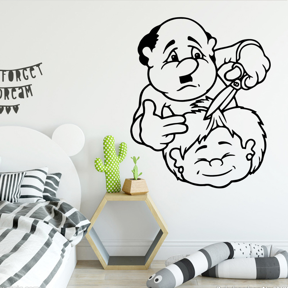 Cute Barber Cartoon Wall Decals Pvc Mural Art Diy Poster for Kids Rooms Decorative Vinyl Stickers LW208