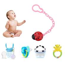 Cute Baby Pacifier Clip Chain Infant Nipple Holder Wooden Beaded Crystal Nipple Leash Strap Metal Pacifier Clips Soother Chain(China)