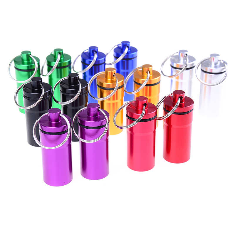 1/2 Pcs/lot Portable Tahan Air Mini Biru Aluminium Gantungan Kunci Tablet Kotak Penyimpanan Botol Holder Wholesale
