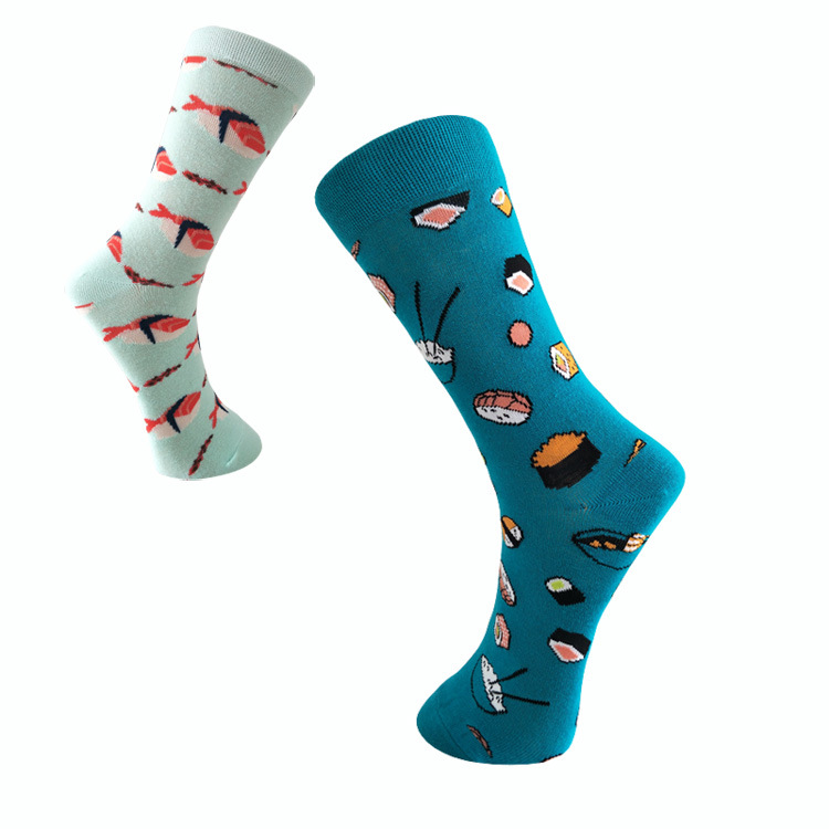 New European And American Personality Couple In Socks Socks Sushi Salmon Eating Men Trend Socks Cotton Socks