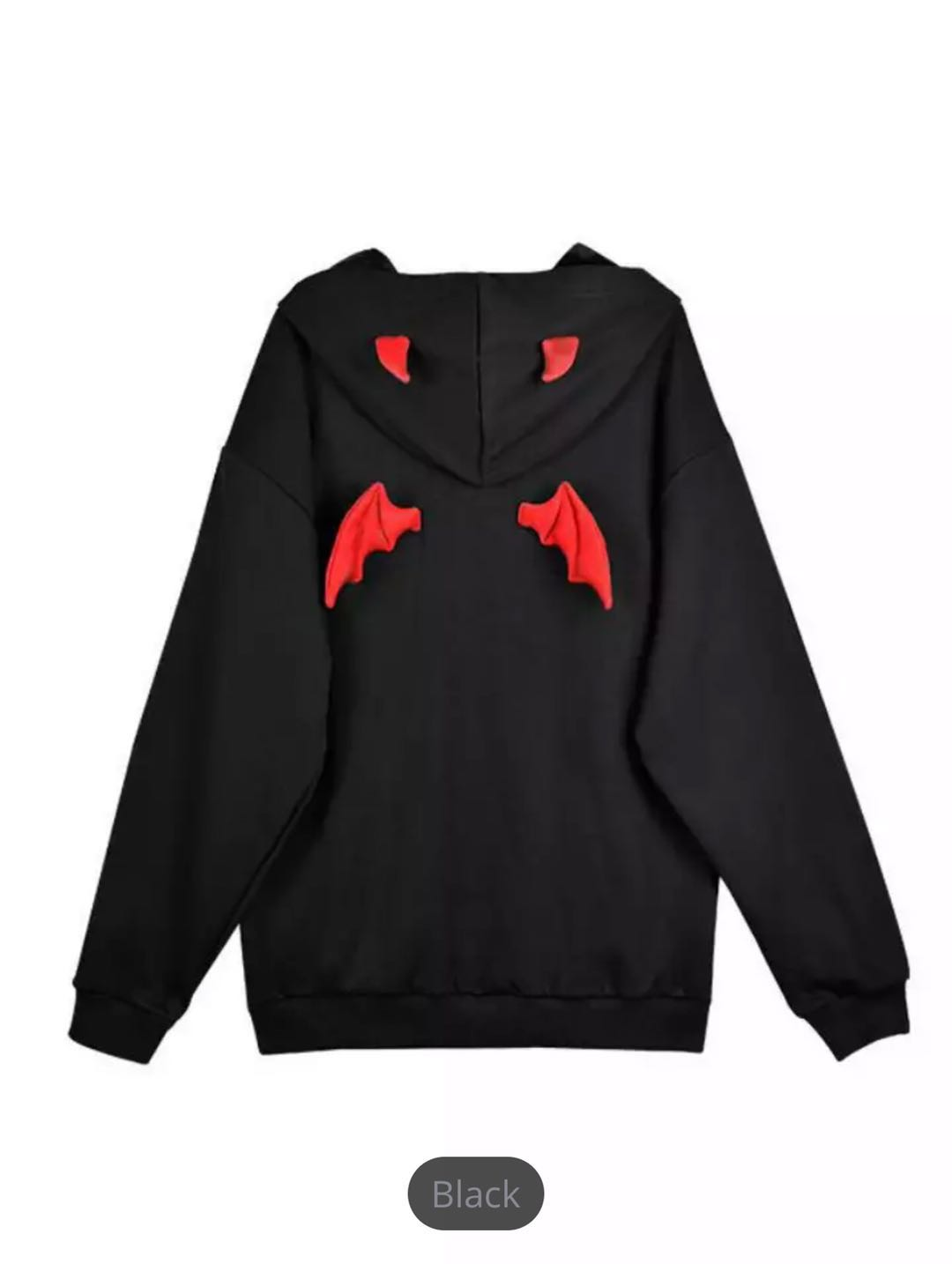 Hooded Sweatshirt With Demon Horns; Gothic Street Sweatshirt; Women's Harajuku Style Loose Black Hoodie