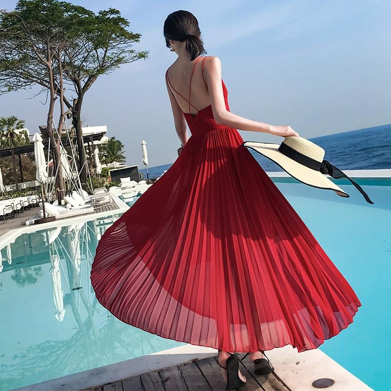 Photo Shoot New Style Women's Summer Chiffon Maxi Dress Waist Hugging Slim Fit Slimming Bohemian Long Skirts Beach Skirt