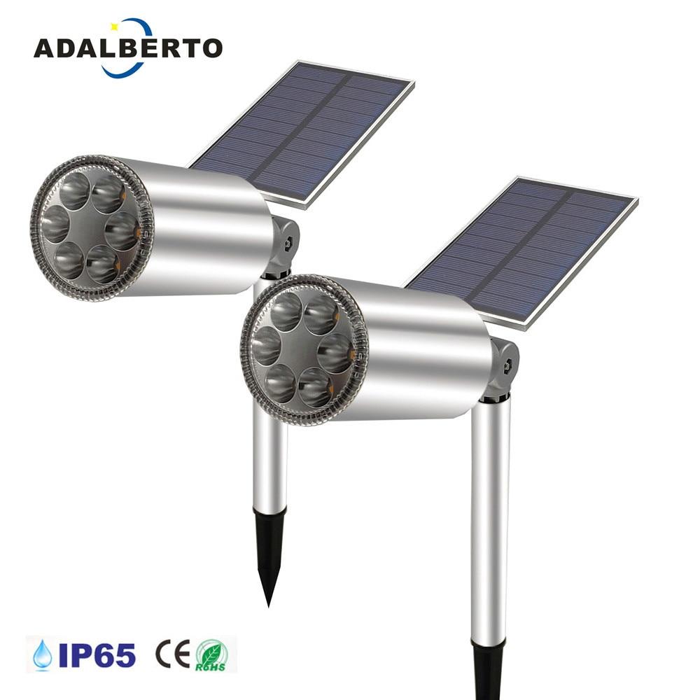 Solar Powered LED Lamp Adjustable Spotlight IP65 Waterproof Landscape Spot Wall Light Outdoor Lighting  Spike Light for Garden