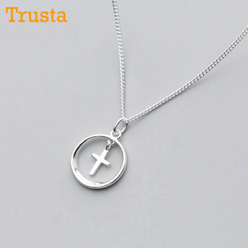 Trustdavis 100% 925 пробы серебряный полый круглый крест кулон короткое 41 см ожерелье для женщин женские ювелирные изделия из стерлингового серебра DS645