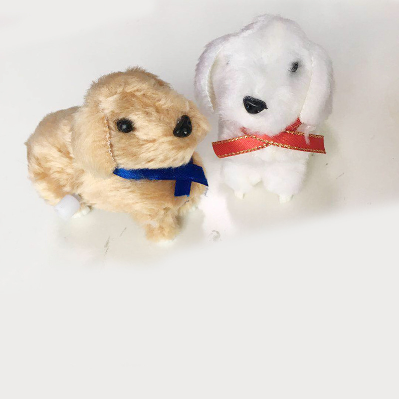 Winding Plush Puppy Wind-up Toy Plush Puppy Children Model Pet Toy Shang Lian Gou Stall Hot Selling