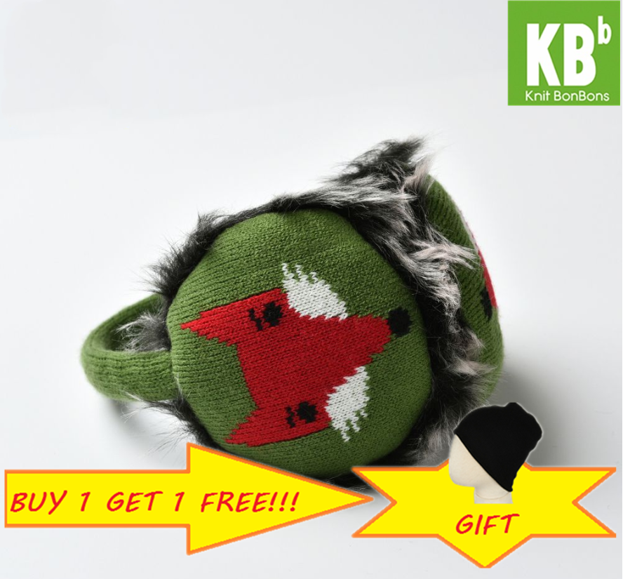 2018 KBB Spring Winter Kawaii Yarn Knit Anime Faux Fur Green With Red Fox Design Winter Earmuffs Head Accessories For Women Men
