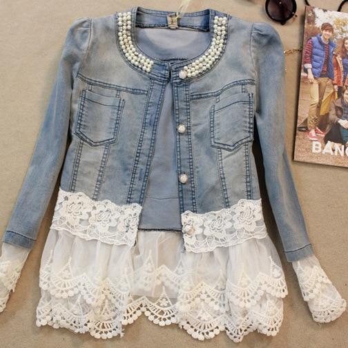 Jacket Outerwear Jeans Lace Patchwork Vintage Women Long-Sleeve Lady Denim New Slim