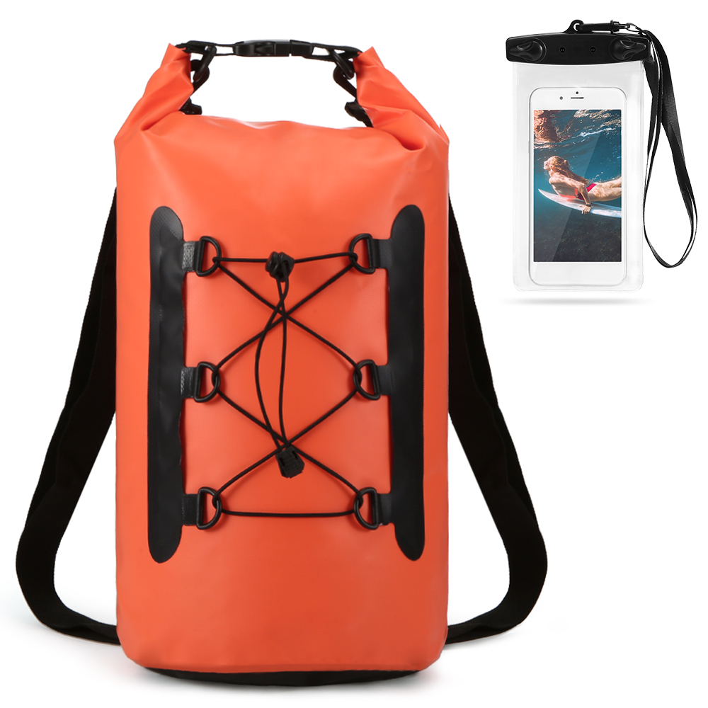 15L PVC Waterproof Backpack With Phone Case Trekking Dry <font><b>Bag</b></font> Swimming <font><b>Water</b></font> <font><b>Proof</b></font> <font><b>Bag</b></font> Roll Top Dry Sack For Boating Fishing image
