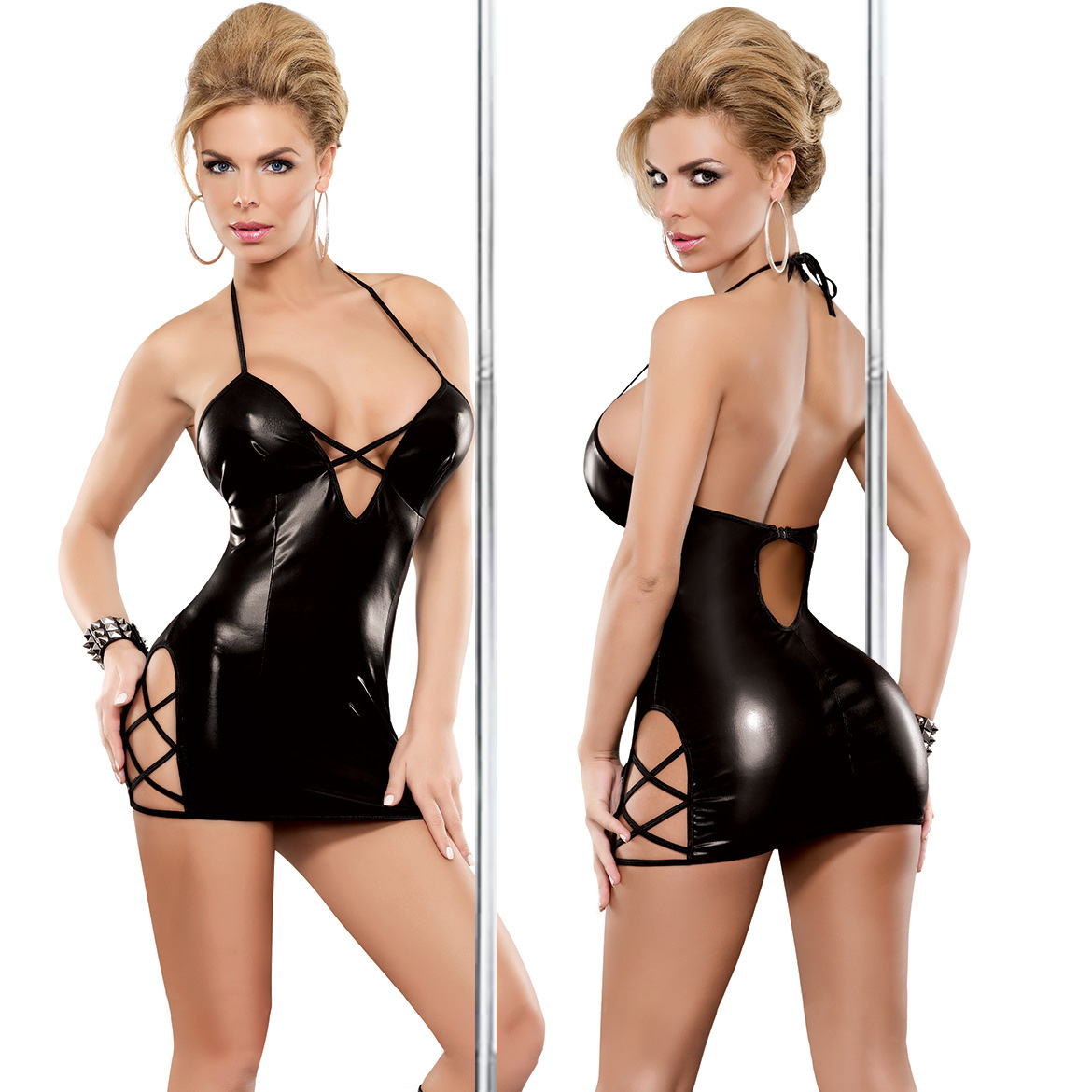<font><b>Black</b></font> <font><b>Sexy</b></font> Lingerie Plus Size Women Erotic <font><b>Dress</b></font> Faux <font><b>Leather</b></font> Erotic seduction Apparel Sex Bondage Costumes Underwear clubwear image