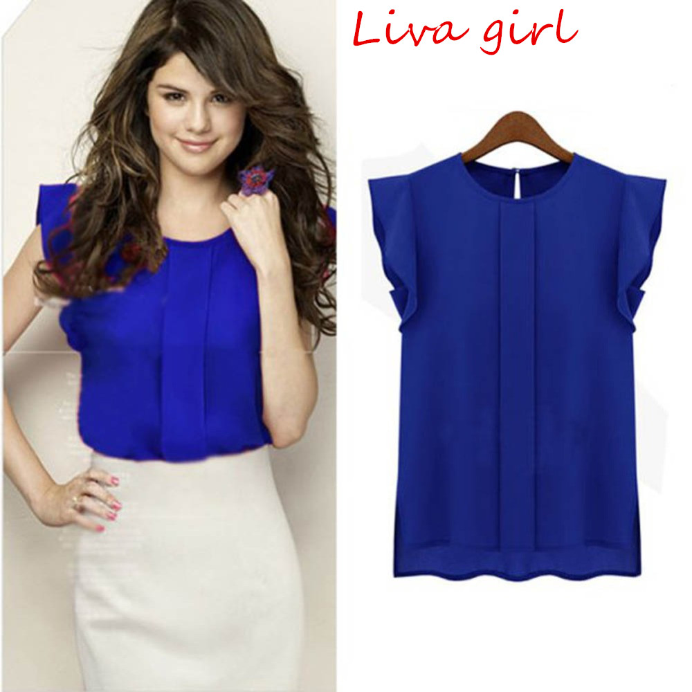 Women Blouse Shirt Summer Short Sleeve Chiffon Solid Color Tops Elegant OL Blouses