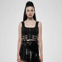 PUNK RAVE Women Puppet Futuristic Vest Knit Patent leather Hollow Out Slim Fit Short Sling Sleeveless Tank Tops