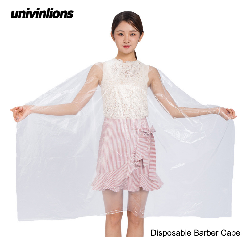 Univinlions 130*150 Disposable PE Waterproof Apron Cut Perm Dye Hair Cape Gown Antistatic Barber / HomeWrap Hairdressing Cloth