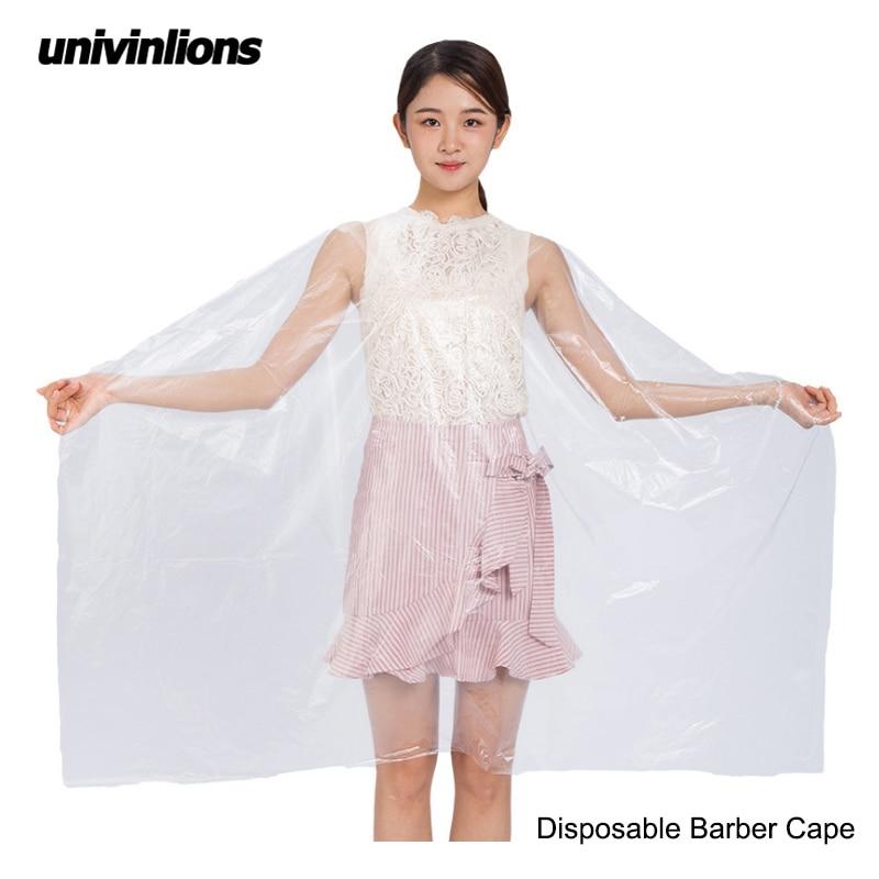 Univinlions 130*150 Disposable PE Waterproof Apron Cut Perm Dye Hair Cape Gown Antistatic Barber / HomeWrap Hairdressing Cloth