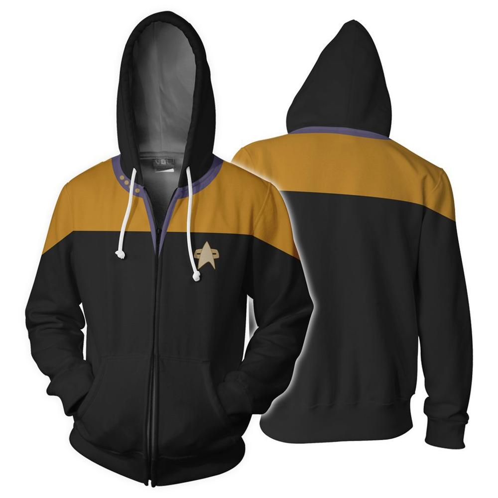 Star Voyager Command Cosplay Star Costume Hoodie Trek Hoodie High Quality 3D Print Zipper Spring Jacket Sweatshirts