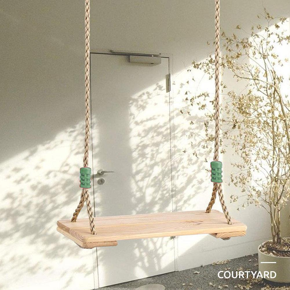 Classic Wooden Swing Seat with Strong Swing Rope Height-adjustable Hanging Swing for Indoor Outdoor