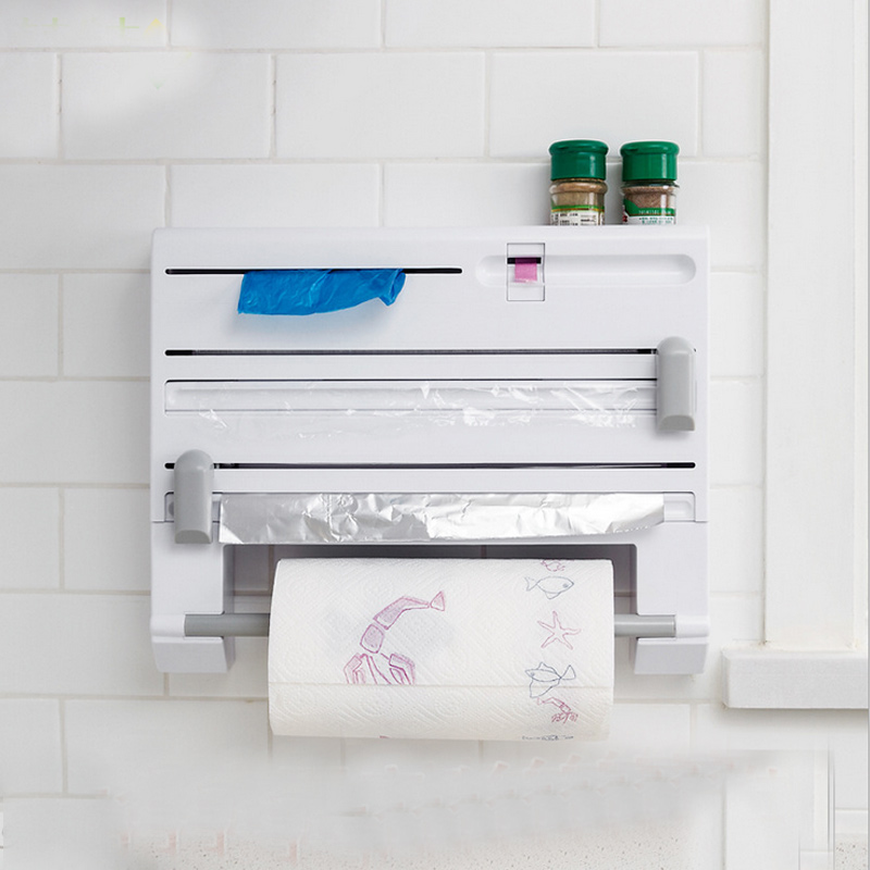 Multi-function Cling Film Cutter Wall Holder Cling Film Tin Foil Paper Roll Authentic Wall Mounted Roll Dispenser For Tin Foil