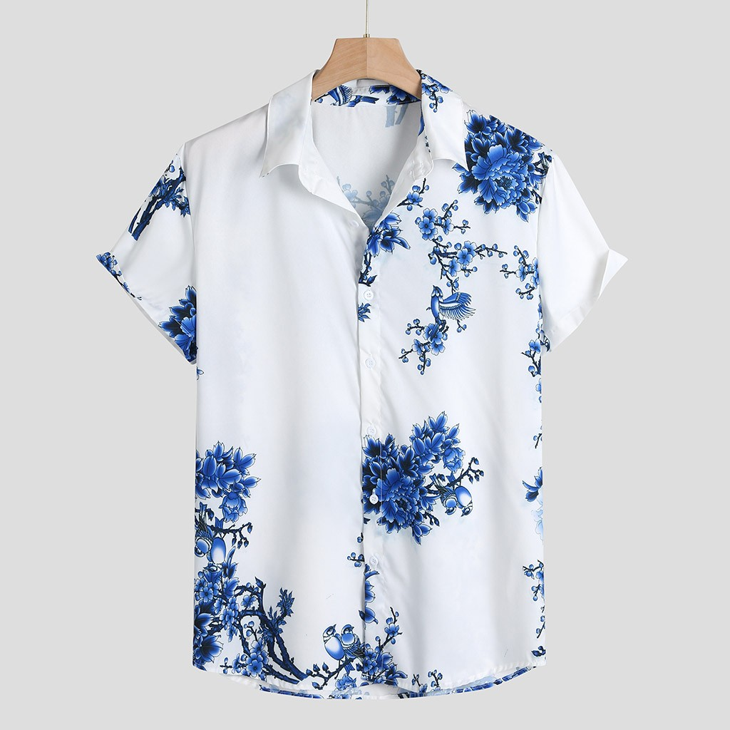 Men's Shirt Camisa Casual Short Sleeve Shirt Men Loose Chest Print Turn-down Collar Round Hem Male Blouse Top Camisa Masculina