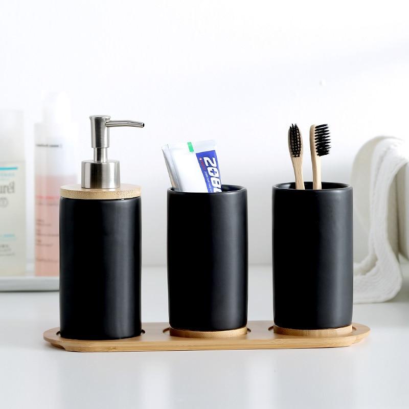 Ceramic Bamboo toothbrush holder cup Bathroom accessories set Tumblers Bathroom Emulsion Container Dishwashing Liquid Container