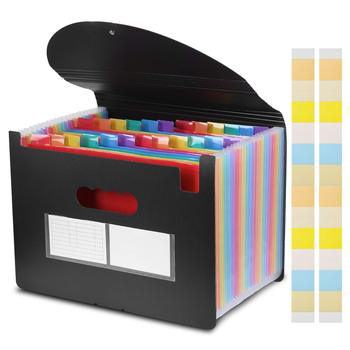 24 pockets extended folder with cover accordion file storage bag A4 file box office large capacity color file storage bag