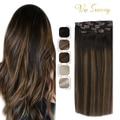 VeSunny волосы для наращивания на заколках, человеческие волосы, двойная утка, 7 шт., волосы для наращивания на заколках, волосы Remy #2/2/6 120гр