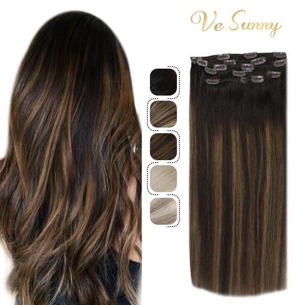 VeSunny Clip su estensioni dei capelli umani reali doppia trama 7 pezzi Clip in estensioni Balayage Ombre marrone evidenziato #2/2/6 100gr