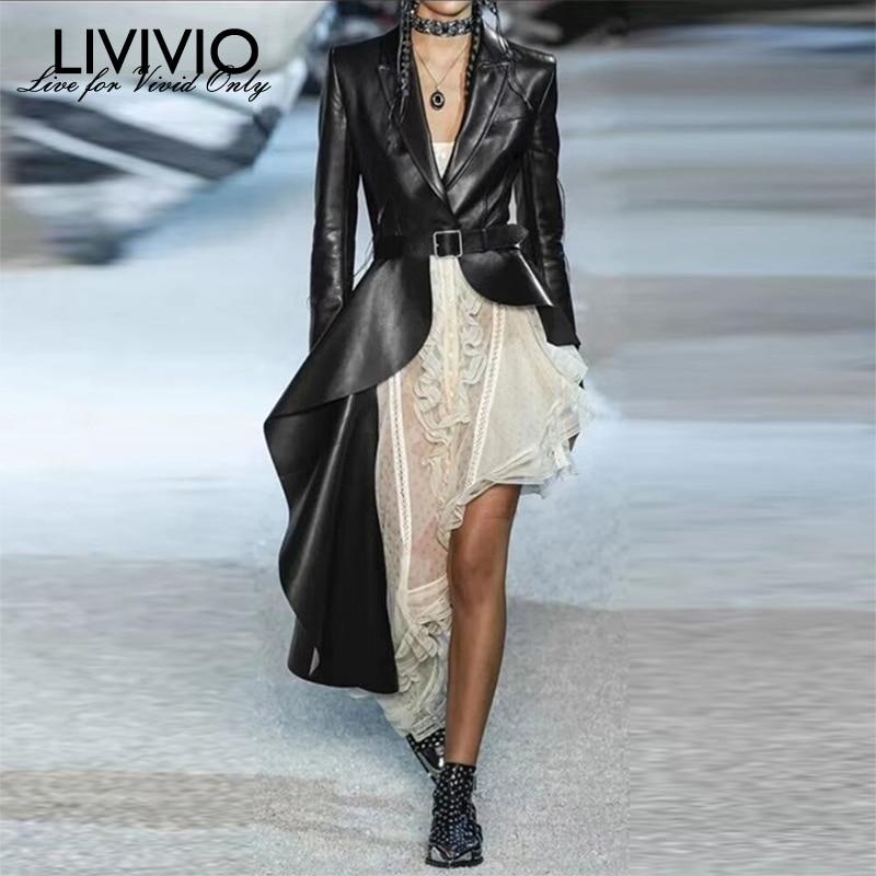 [LIVIVIO] Pu Leather Women's Trench Long Sleeve With Belt Irregular Ruffle Hem Windbreaker Female 2019 Fall Fashion Autumn