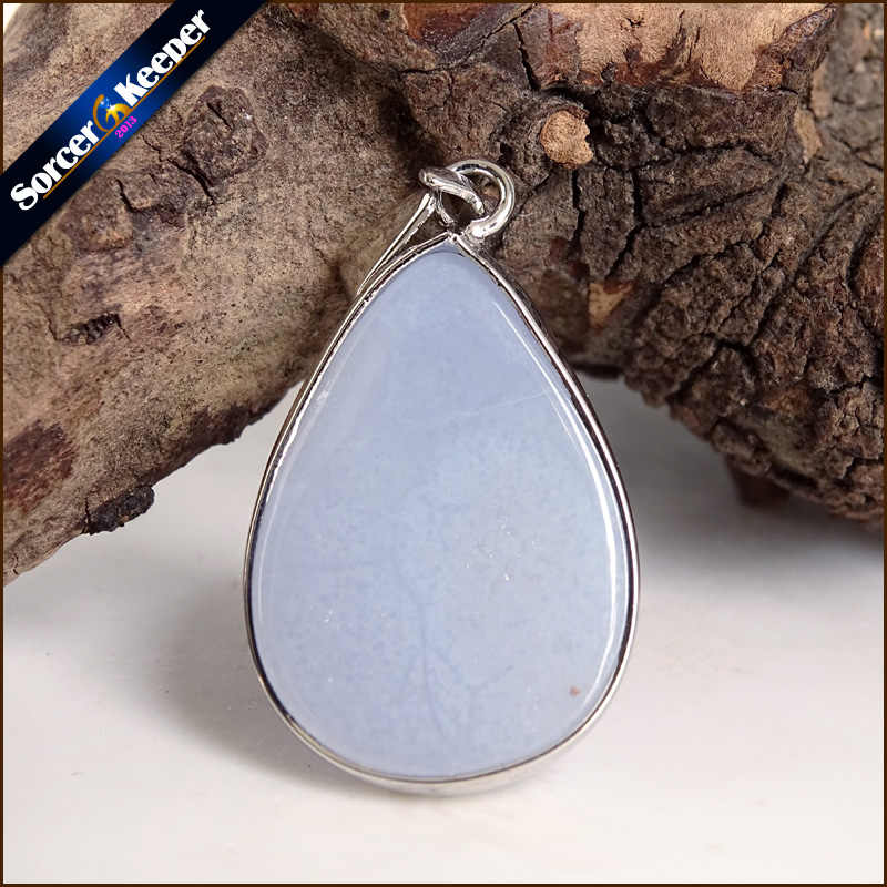 A + gema Natural Real piedra azul Calcedonia Agates cabujón collar con cuentas de cristal y colgante Mujer Accesorios joyas Bijou TS792