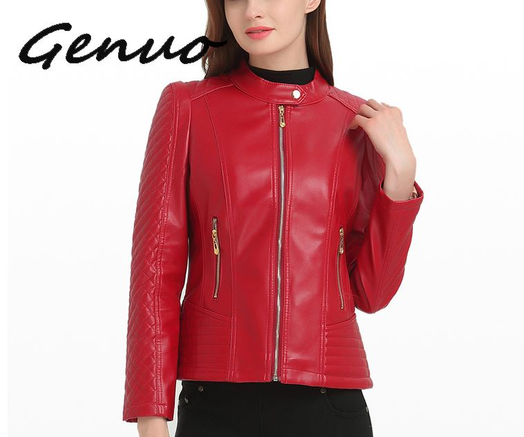 2019 6XL Fashion Woman Short Motorcycle Pu Leather Zipper Red   Jacket   For Female Women   Basic     Jackets   Autumn Large Sizes Outerwear