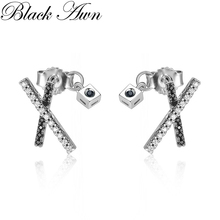 Black Awn 2020 New Cute 925 Sterling Silver Black Spinel Trendy Engagement Earrings for Wom