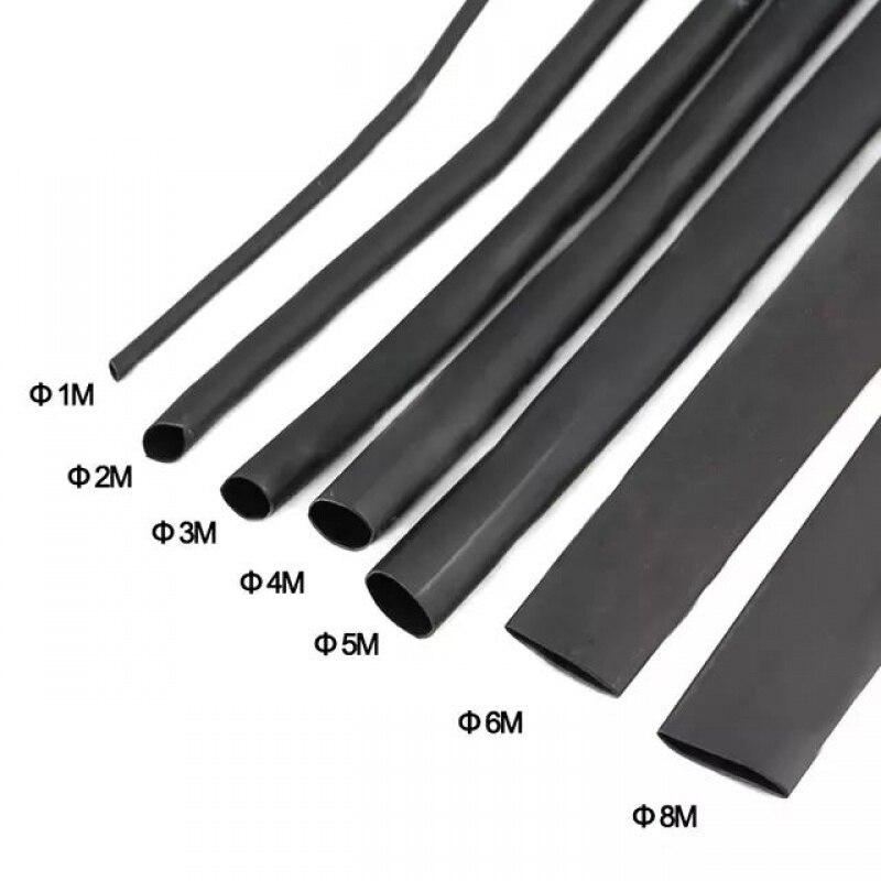 8 Meter/set Heat Shrink Tube Kit 1/2/3/4/5/6/7/8MM 2:1 Black Heat Shrink Tubing Shrinkable Sleeving Wrap DIY Connector Wire Kit