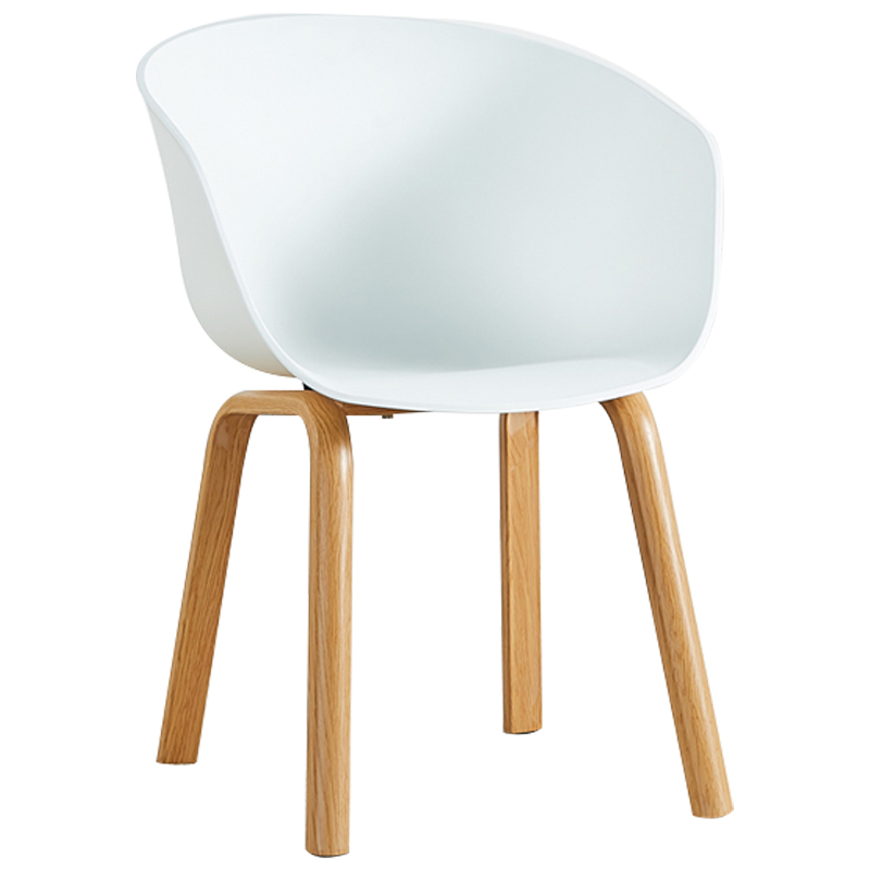 Nordic chair simple desk computer  plastic back leisure stool solid wood negotiation single home wooden dining    - title=