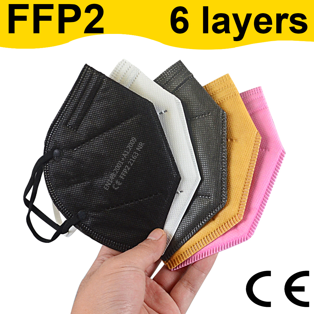 Multicolor Adult 6 Layer maske CE FFP2 Mascarilla Respirator CE fpp2 Face Mask Filter Masks Mouth protect Dustproof Breathable