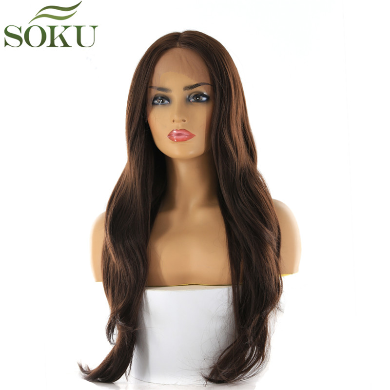 SOKU Wigs Lace-Front Brown Color Blonde Middle-Part Black Women for Long Synthetic Natural-Wave
