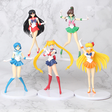 5pcs/set Cartoon Sailor Moon Action Figures 18cm Mercury Mars Jupiter Venus Figurines Collectable Models Kids Doll Toys SA3271
