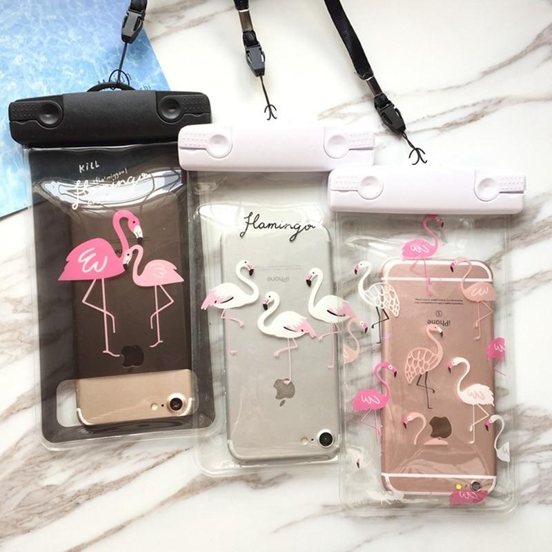 Водонепроницаемая сумка для телефона с фламинго, подводный чехол для iPhone 11 Pro Max X 8 7 6 s. Защитный чехол для бассейна, пляжа, каякинга