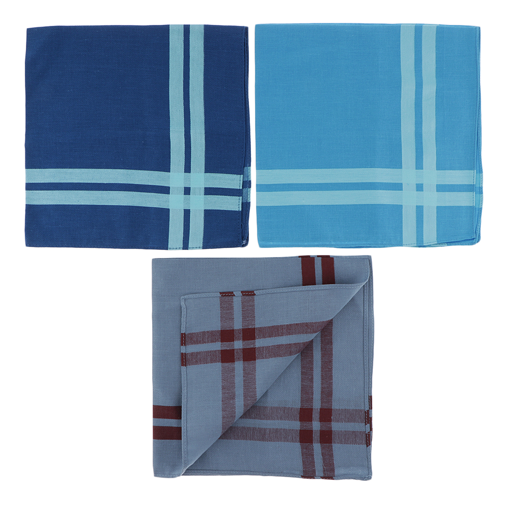 3pcs Men's Plaid Square Hankerchief Hanky Wedding Party Handkerchief Man Cotton Vintage Pocket Squares Plaid Stripe Handkerchief