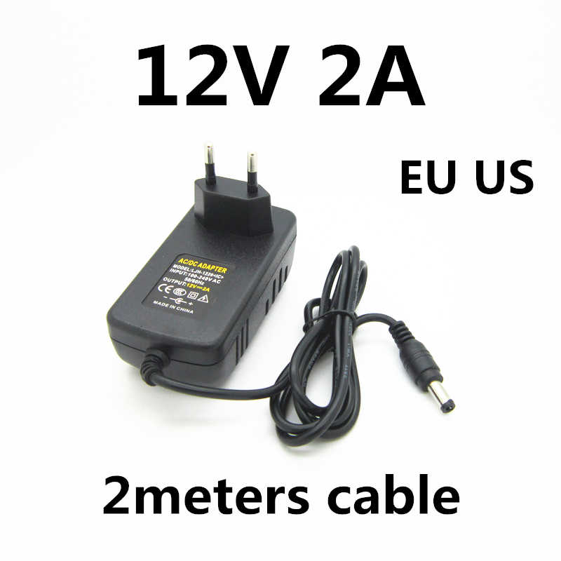2 M 2 Mét Cáp 6.5ft 12 V 2a 2000ma Sạc Nguồn Điện Cung Cấp Bộ Chuyển Đổi Nguồn Điện 12 V Volt Cho Đèn LED dây Camera Quan Sát EU Phích Cắm US