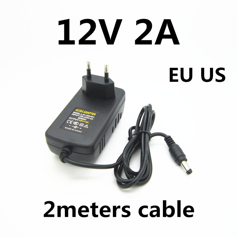 2M 2 Meters Cable AC 100-240V 12v 2a 2000ma Charger Power Supply Power Adapter 12 V Volt For LED Strip CCTV Camera EU US PLUG