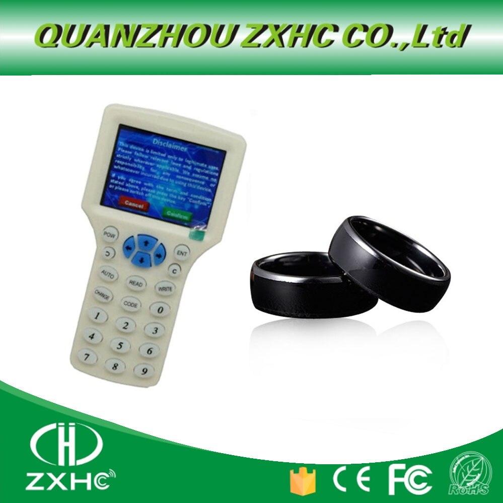 Lector de RFID en inglés, copiadora duplicadora de 125Khz 13,56 Mhz 10 Frecuencia con Cable USB para tarjetas IC/ID + un anillo rfid 10 duplicador de copiadora RFID de frecuencia inglesa 125 Khz llavero NFC lector escritor 13,56 MHz programador cifrado USB UID copia Etiqueta de tarjeta