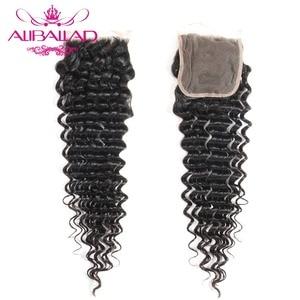 Image 4 - Aliballad حزم موجة عميقة مع إغلاق اللون الطبيعي شعر برازيلي 3/4 حزم مع تمديدات شعر ريمي إغلاق 4x4