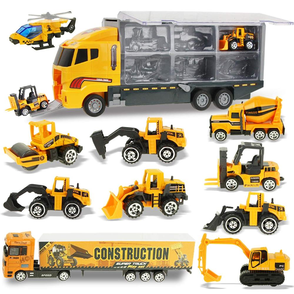 Pull Back Mini Construction Engineering Dump Trucks Model Classic Gift Car Toy