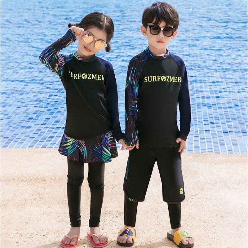 KID'S Swimwear 2019-BOY'S GIRL'S Big Boy Long Sleeve Trousers Split Skirt-Sun-resistant Waterproof Mother Snorkeling Suit